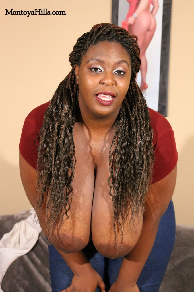 Montoya shows of her long braided her style and deep cleavage.