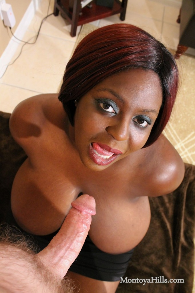 Big black tit, Montoya Hills, is ready to suck white cock.
