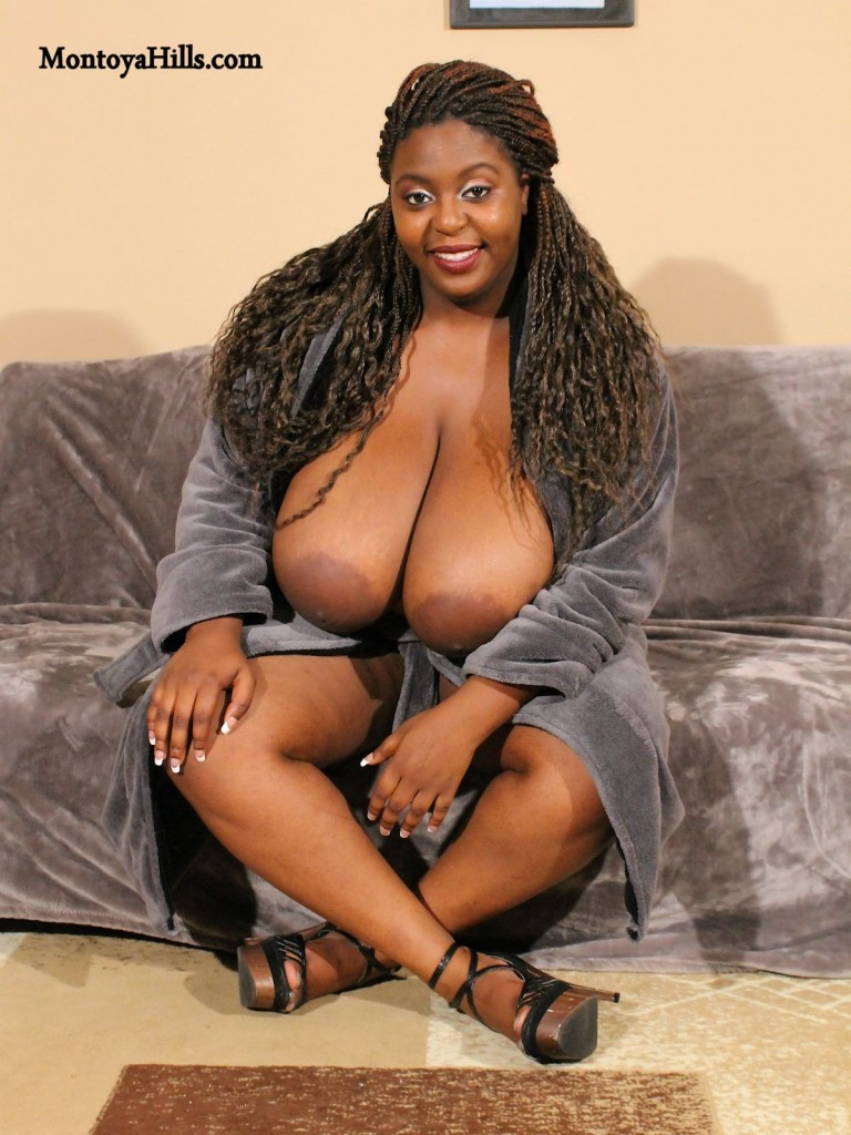 Montoya Hills big black tits and large aerolas popping out of her robe.