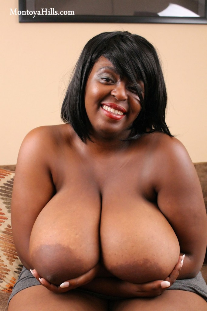 Montoya Hills big black tits, large aerolas, and deep cleavage.