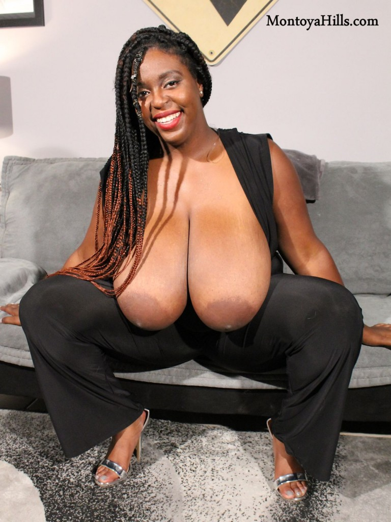 Montoya Hills reveals her huge saggy black boobs.